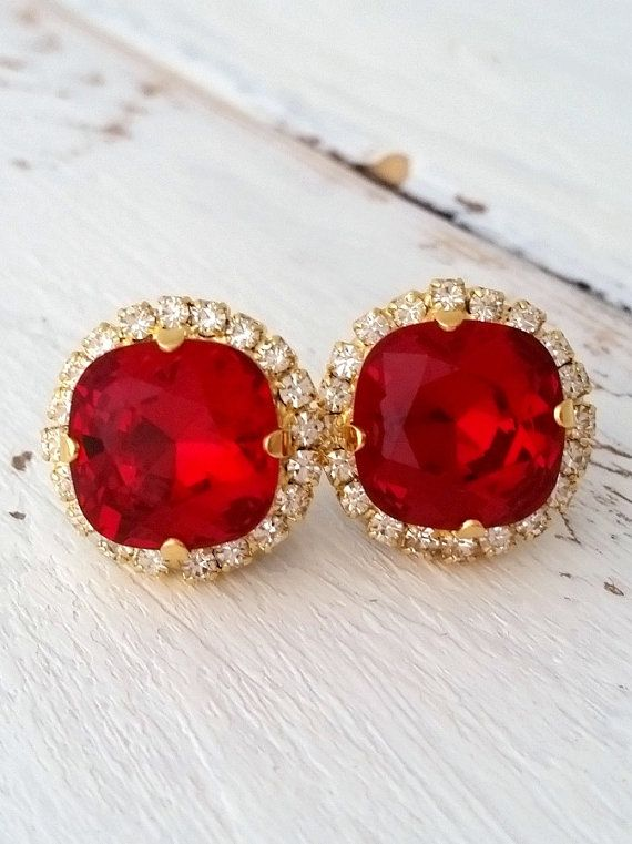 Deep Red Swarovski crystal stud earrings | Red crystal stud earrings | bridesmaids crystal earrings | square stud earrings | swarovski crystal earrings by EldorTinaJewelry | http://etsy.me/1MZZ3Cf