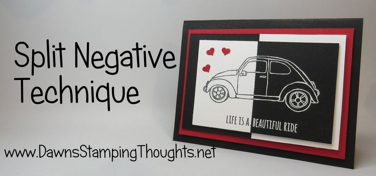 Split Negative Technique with Beautiful Ride stamp set from Stampin' Up!
