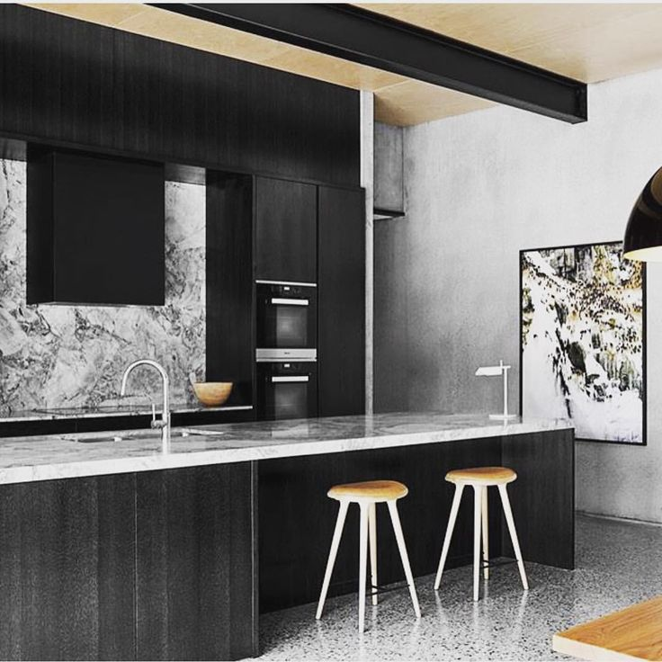 Black beauty #kitchen #cabinetry #joinery #black #marble #ply #timber #concrete #custom #design #interior #stone