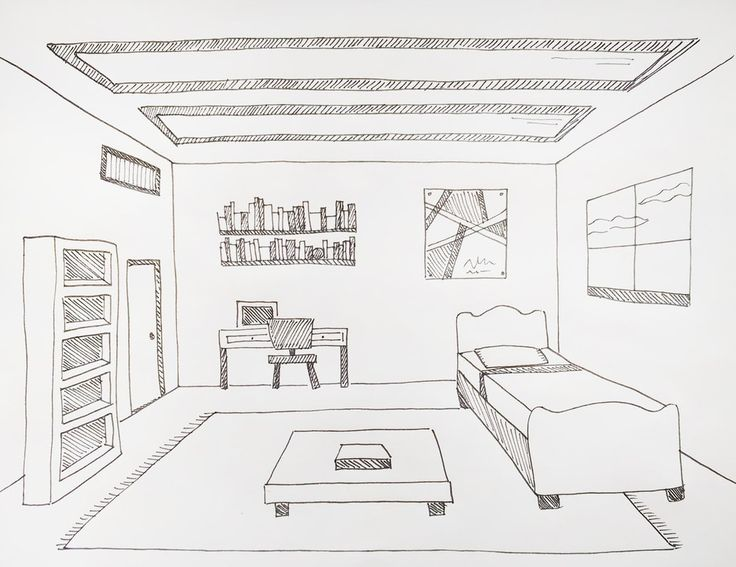 Drawing a Room Using One-Point Perspective   Room ...