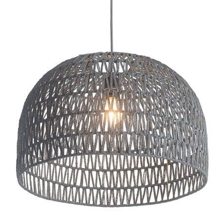 Paradise Ceiling Lamp Has A Large Dome Shaped Shade. Shade Material  Surrounds A Metal Architecture With An Grey Polyester Woven Thread Zig Zag  Pattern Woven ...