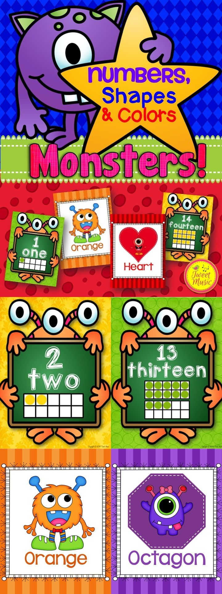 Decorate your classroom this year with this Monster themed Numbers, Shapes and Colors Poster Set! $