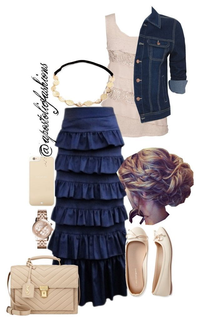"""Apostolic Fashions #764"" by apostolicfashions ❤ liked on Polyvore featuring Only Limitless, Aéropostale, Yves Saint Laurent, Michael Kors and Kate Spade"