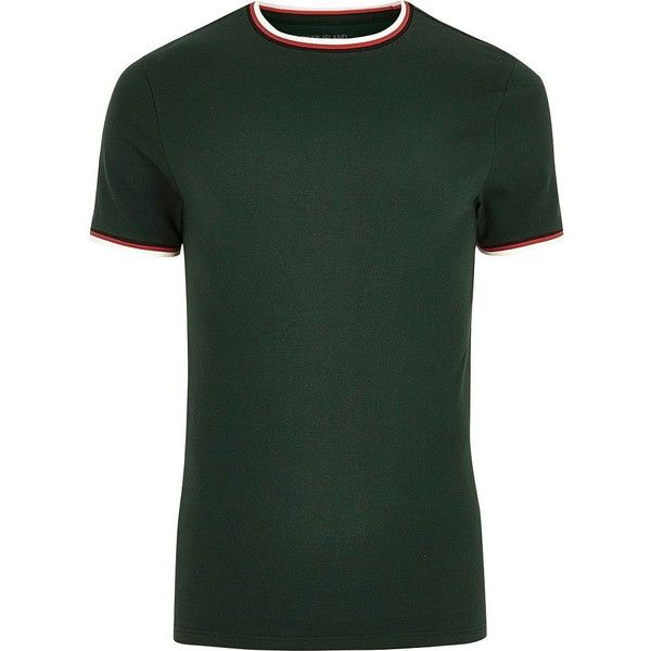 River Island Dark green tipped muscle fit T-shirt (51 BRL) ❤ liked on Polyvore featuring men's fashion, men's clothing, men's shirts, men's t-shirts, green, mens short sleeve shirts, mens green shirt, mens cotton t shirts, dark green mens dress shirt and mens cotton shirts