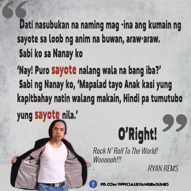 Comedy Quotes Tagalog Version: Ryan Rems Sarita Jokes Funny Lines Quotes