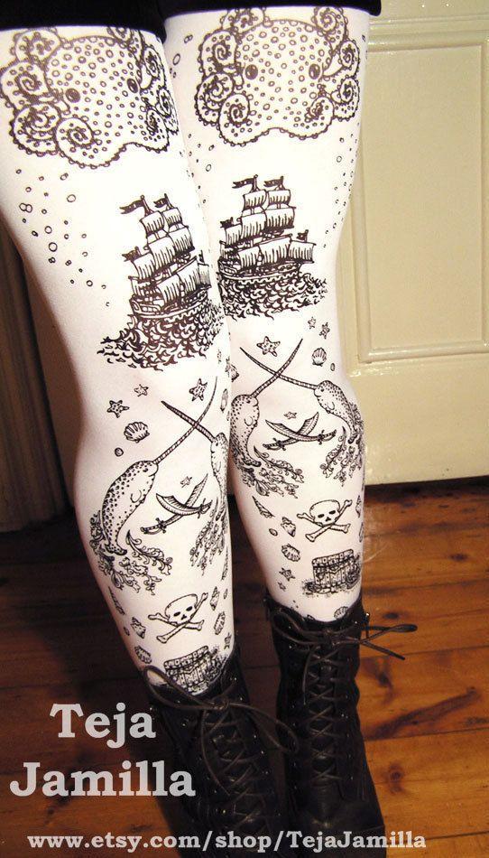 S M Pirate Printed Tattoo Tights Narwhal Black on by TejaJamilla