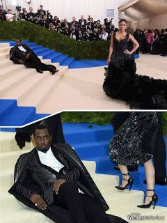 """Sean """"Diddy"""" Combs turned heads on the red carpet at the 2017 Met Gala after he laid down on the stairs of the Metropolitan Museum of Art..."""