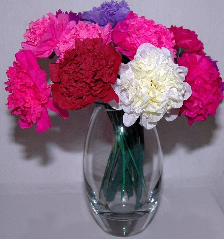 Jak zrobić kwiaty z bibuły Peonia  Tissue flowers - Peony DIY