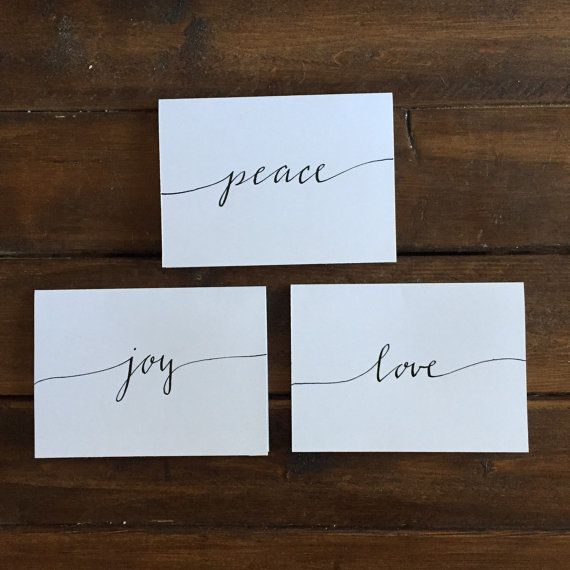 Custom modern calligraphy holiday cards with envelopes