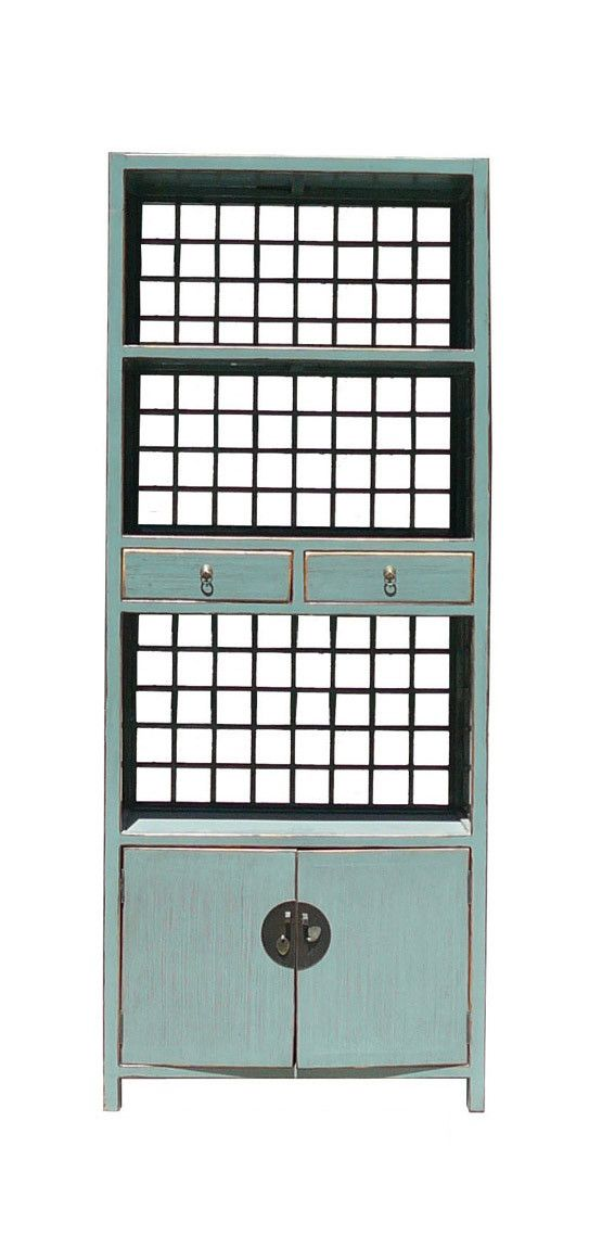 Light Blue Color Chinese Tall Display Solid Wood Display Cabinet Book Case mh260S