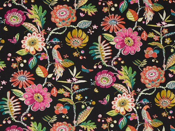 Black Floral Upholstery Fabric Modern Coral Grey Floral Bird Curtains Romans Shades Custom Pink Green Pillows Black Floral Pillows Floral Upholstery Fabric Floral Upholstery Upholstery Fabric