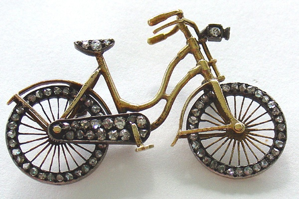 Bicycle Pin Brooch 14Kt Gold with Rose Diamonds Movable Wheels Edwardian