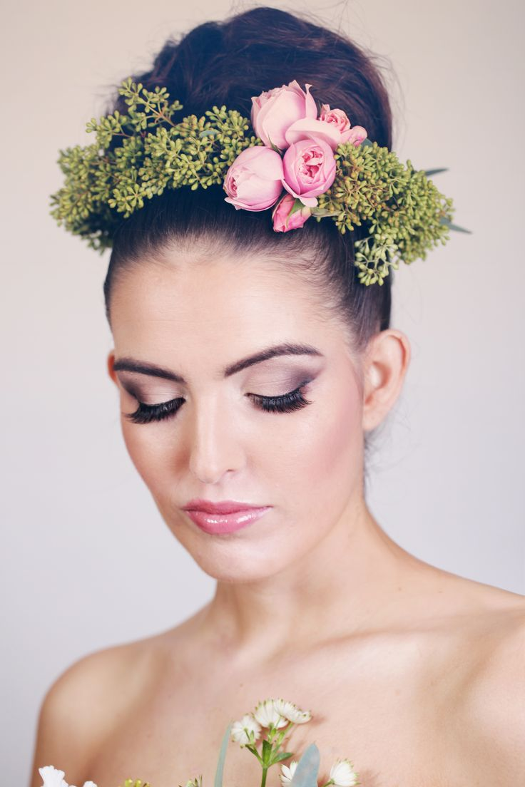 Beautiful brunette bride with flower crown & bun hairstyle and smoky eye makeup. Rekha Garton photography , Love Moi Makeup, flowers by Jo Flowers, hair by Tracey Ward.