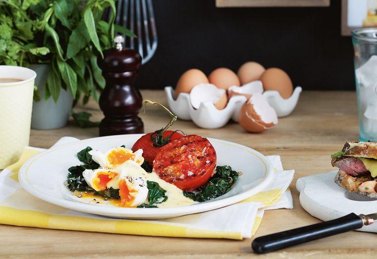 Eier Florentine mit Grilltomaten