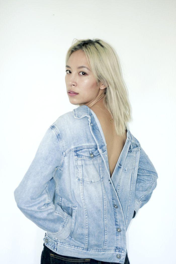 Rachel Nguyen of That's Chic wearing The Nancy in Blue Jay. #AG DENIM