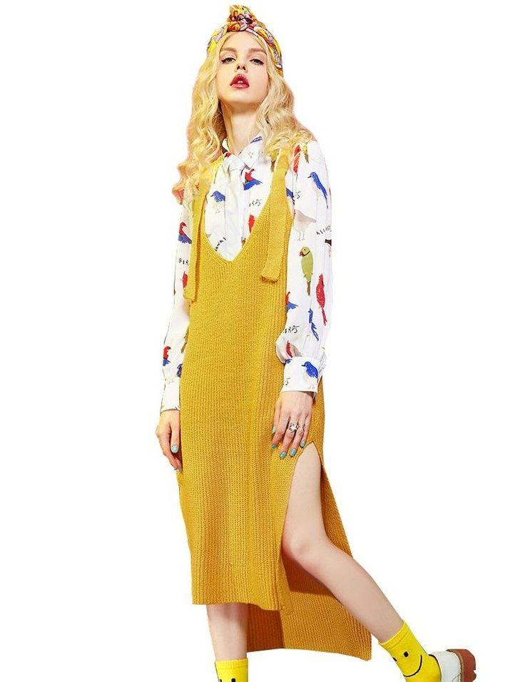 Elf Sack Ladies Spring Polo Shirt&Knitted Dress Vest Yellow Medium