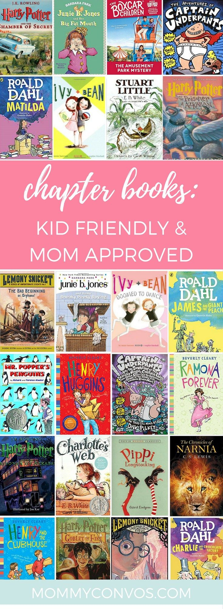 kids chapter book recommendations. chapter books for 7-9 year-olds that are kids' and mom's favorites! How to help your 2nd, 3rd and 4th graders get hooked and enjoy reading :)