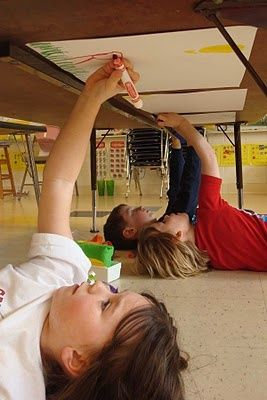 Great idea! Have kids tape drawing paper - to underside of desks. Let them 'paint' with markers just like the famous painter of the Sistine Chapel. via pinterest