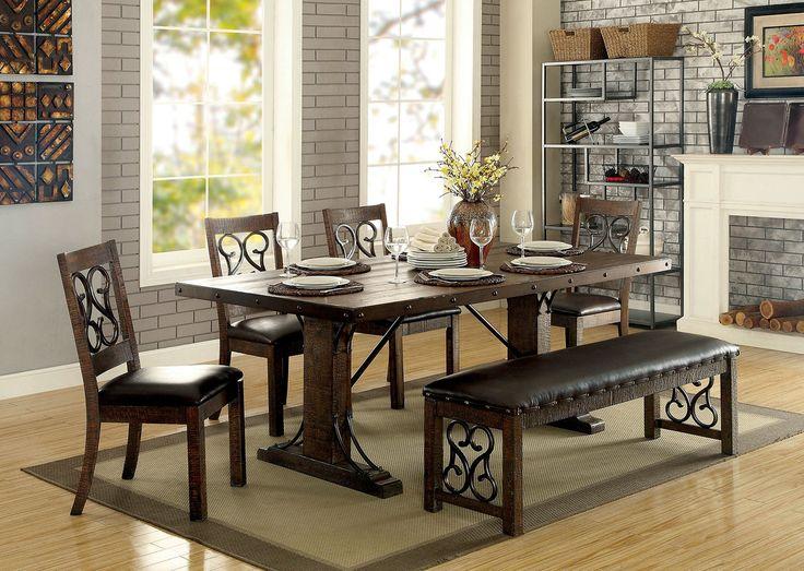 furniture of america cm3465t wood metal dining set
