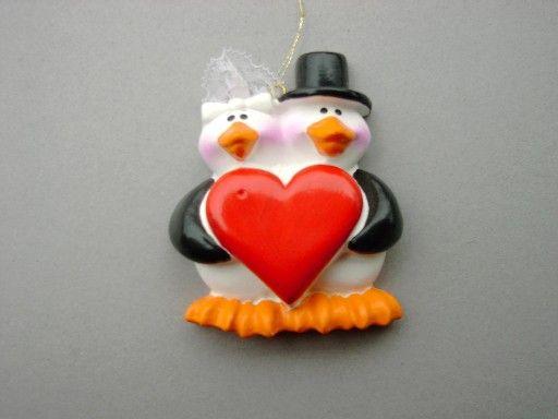Penguin wedding couple ornament