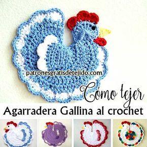 Agarradera tejida al crochet con forma de gallina paso a for Agarraderas para ninos