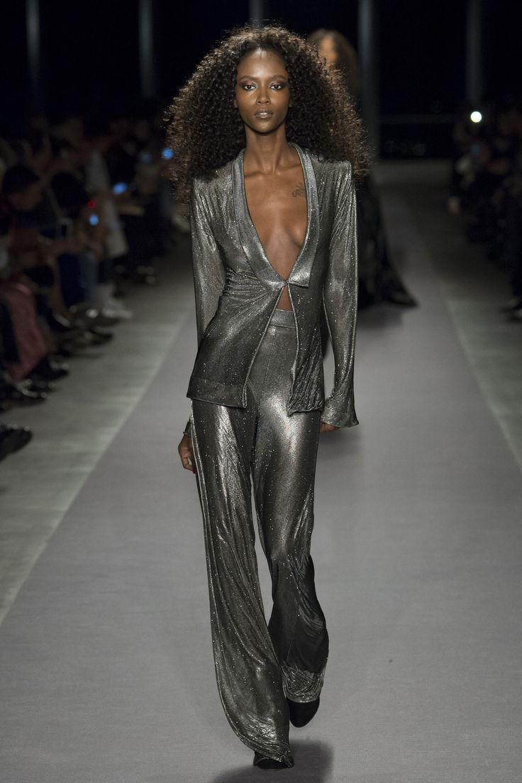 Image result for brandon maxwell metallic dress runway fall 2017