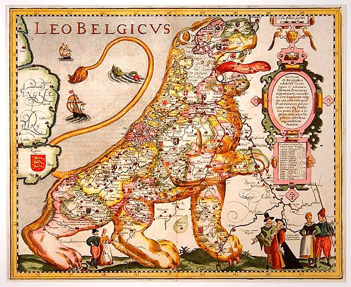 This map depicts The Netherlands and Belgium as a lion. At the time this was created, in 1617, the two counties were united as one nation, although the Spanish Empire ruled the area.