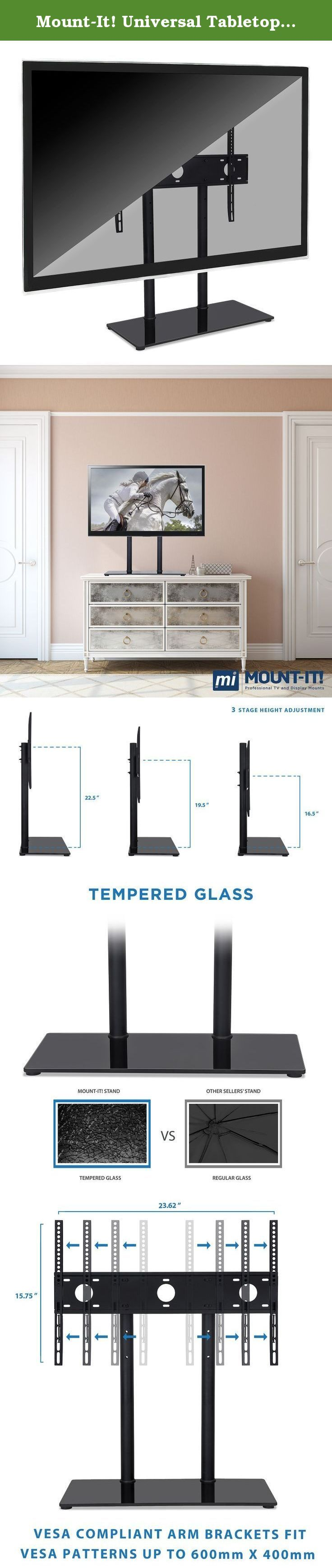 Mount-It! Universal Tabletop TV Stand Mount and AV Media Glass Shelf, TV Mount Bracket Fits 32, 37, 40, 47, 50, 55 Inch TVs, Height Adjustable, VESA 600x400, Black (MI-846). Mount-It! MI-846 contemporary TV mount and media component stand combo features a beautiful black silk tempered glass shelves with spacious shelving for all of your surround sound system components, Blu-ray player, game consoles, cable box and place other media components. The built-in TV mount is VESA compatible and...