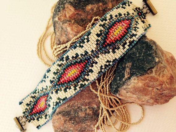 Ethnic inspired peyote stitch band bracelet by BeadALittleDream
