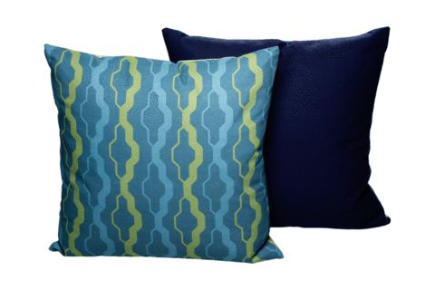 Mosaic Cushion - Archer + Co printed front with plain navy blue on the back .