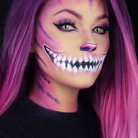 Cheshire cat halloween makeup. Really cool but kind of scary.