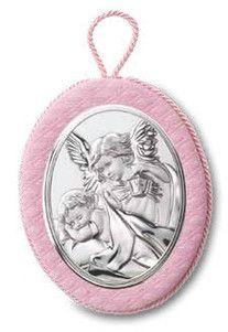 Medalion z pozytywką ozdobiony srebrnym emblematem przedstawiającym Anioła Stróża z latarenką, idealny na prezent z okazji Chrztu. #dla_dziecka #upominek #urodziny