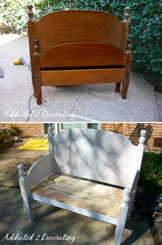 upcycling garden ideas | Headboard upcycled into garden bench. From addicted2decorating.com