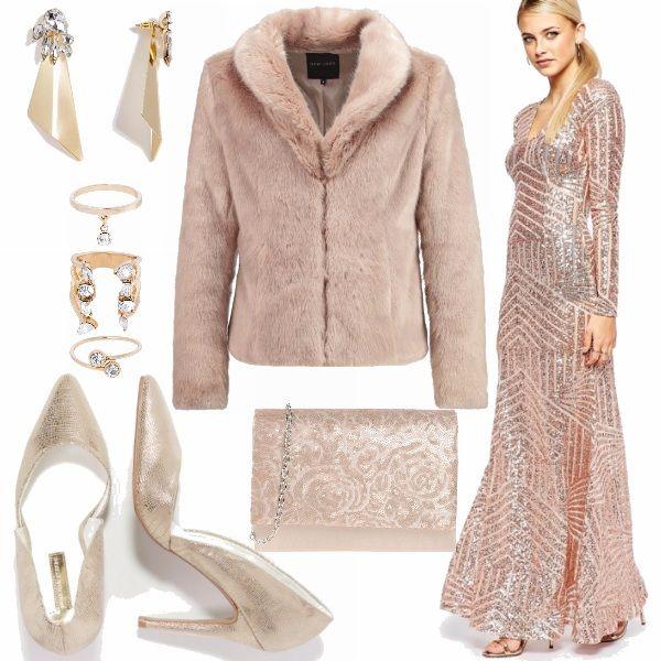 Un outfit per la festa di Capodanno in oro e rosa cipria 092a7832d49