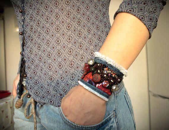 Gypsy Red Beaded Bracelet by PomPaw on Etsy