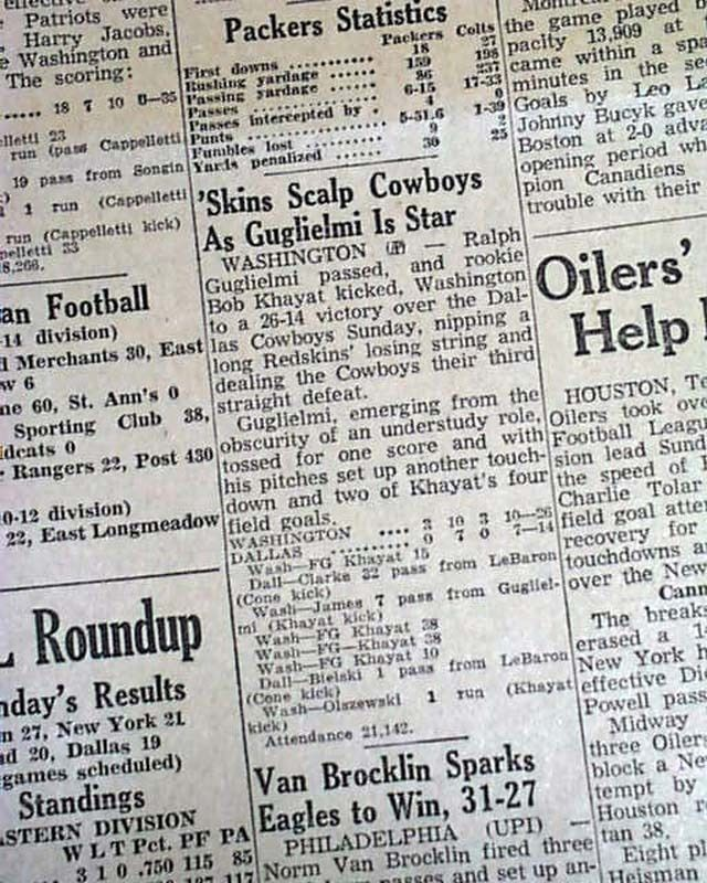 COWBOYS-REDSKINS RIVALRY Dallas vs. Washington 1st NFL Football 1960 Newspaper