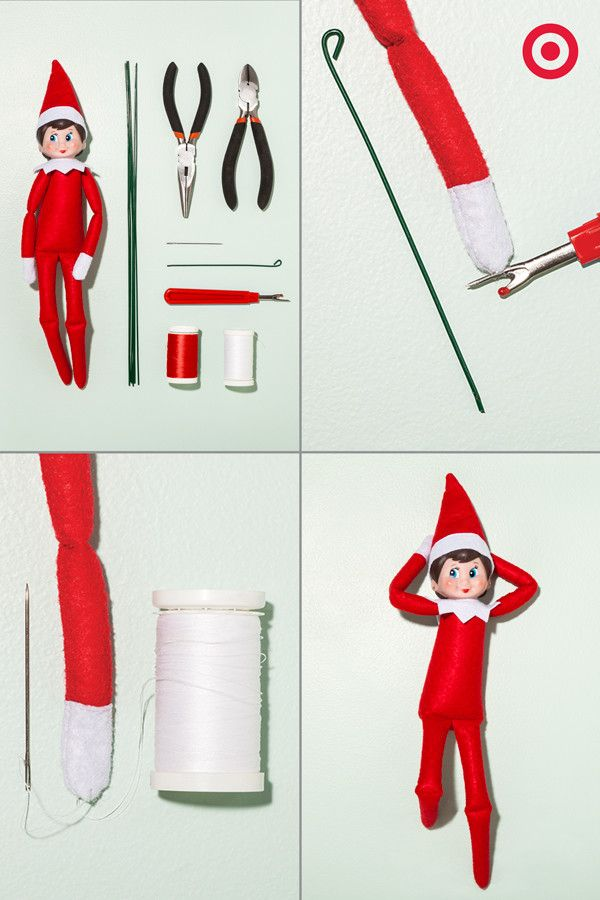 A Flexible Frame For Your Elf Create a custom frame to get your Elf On A Shelf into standing poses. 1 – supplies: 14 gauge floral wire, wire cutter, needle nose pliers, sewing needles, seam ripper red & white thread. 2 – cut wire to length of elf arms & legs. 3 – use pliers to bend the wire ends. 4 – Using the seam ripper, open seam edges on hands and feet. 5 – carefully insert wires. 6 – Sew seams back together using sewing needle and thread. 6 – Pose your elf standing, sitting, etc. Enjoy!