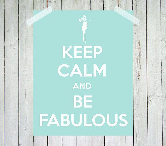 Audrey Hepburn Print   Keep Calm And Be Fabulous   Audrey Hepburn   Tiffany  Blue   Wall Art Home Decor Girl Bedroom Decor   Print
