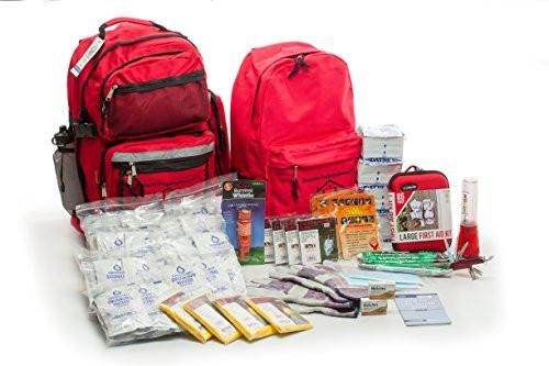 Disaster preparedness survival kit for families. Contains emergency food, water, first aid and survival items to last up to 72 hours with little else.