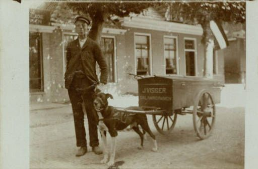 Portret van handelaar Jakle S. Visser uit Galamadammen met zijn hondenkar, foto circa 1920.