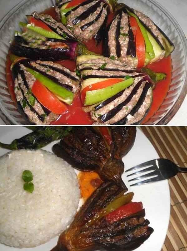 yelpaze kebabı patlıcanlı