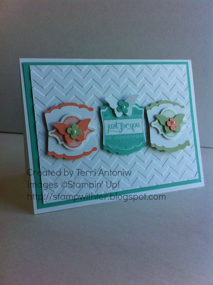 Gorgeous layers and colors! Label Love Mosaic Madness, Butterfly   Created by Terri Antoniw Images ©Stampin' Up! http://stampwithter.blogspot.com