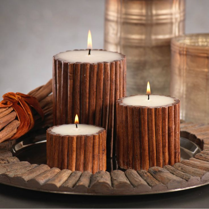 """Cinnamon Stick Scented Pillar Candle - Set of Six Candles Per Size - Small Dimensions: 3"""" x 2"""" - Medium Dimensions: 3.25"""" x 3.5"""" - Large Dimensions: 4"""" x 5"""""""