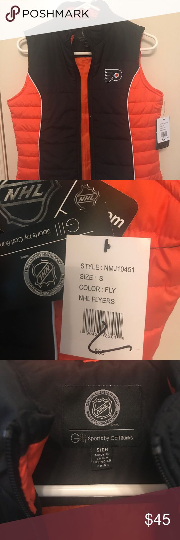 FLYERS NHL Vest Brand new NHL FLYERS vest! Great to keep you warm during the cooler temperatures! Sports by Carl Banks Jackets & Coats Vests