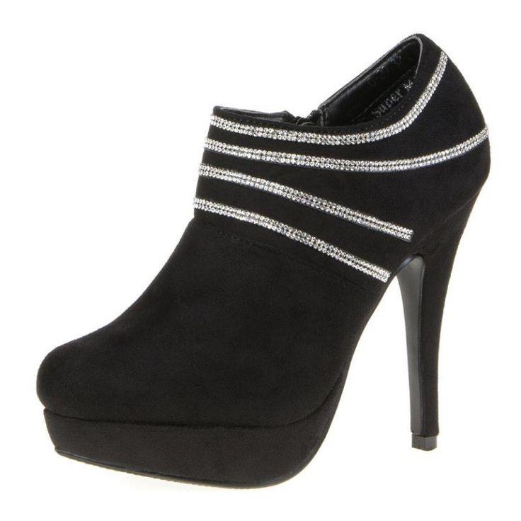 Enkellaarzen dames high heels strass zwart € 19,99 http://www.mini-jurken.nl/webshop/damesschoenen/enkellaarzen/detail/813/enkellaarzen-dames-high-heels-strass-zwart.html