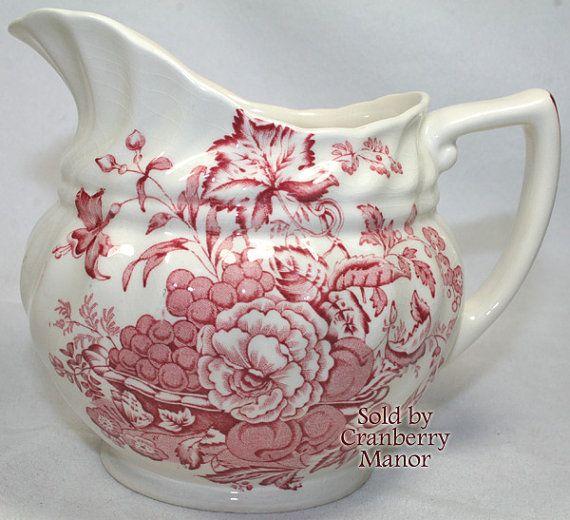 Royal Doulton Pitcher The Kirkwood In Red British Serving Porcelain English Housewares Vintage Home Decor Designer Signed Fine Bone China