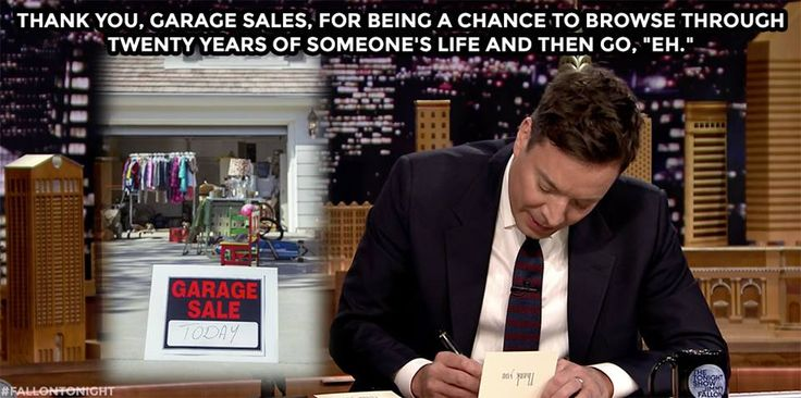 "The Tonight Show Starring Jimmy Fallon Page Liked · 30 mins ·     ·  Thank you, garage sales, for being a chance to browse through twenty years of someone's life and then go, ""Eh.""  WATCH: https://www.youtube.com/watch?v=wvmRotama00&list=UU8-Th83bH_thdKZDJCrn88g"