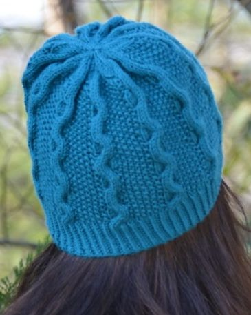 7692a6471be Free Knitting Pattern for Blue Waves Hat - Cable hat knit in the round in  DK yarn. Designed by JoannaN Designs