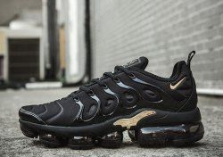 newest collection d0d69 cca7e Nike Air VaporMax Plus TN Black Gold Women s Men s Running Shoes Casual  Sneakers