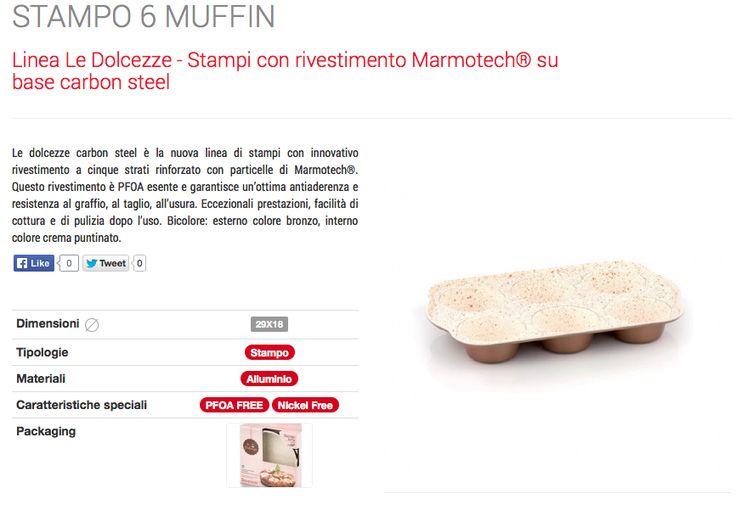 Stampi e teglie in marmotech : Stampo 6 muffin in marmotech Barazzoni 29x18 cm